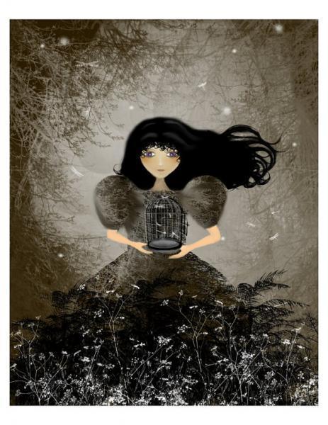 woodland fantasy art print, goth girl art, I'm Not Letting Go