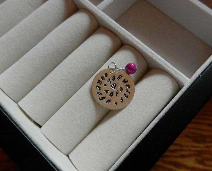 "Breast Cancer Awareness - 7/8"" Hand Stamped Sterling Silver Pendant w/ Pink"