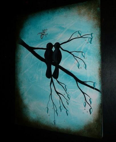 SALE - Bird and Dragonfly Art Painting - LOVE IS...