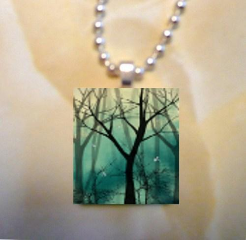 Scrabble Tile Art Pendant -- Fantasy Art Landscape -- Everlast