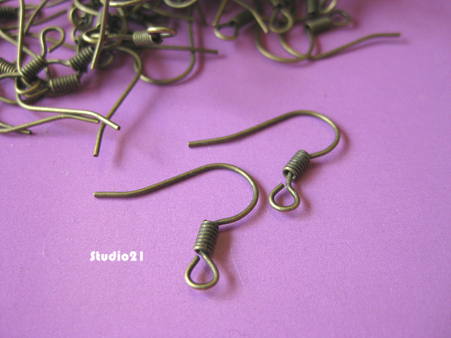 100 pcs Antique Bronze Earwire Fishhook with Coil