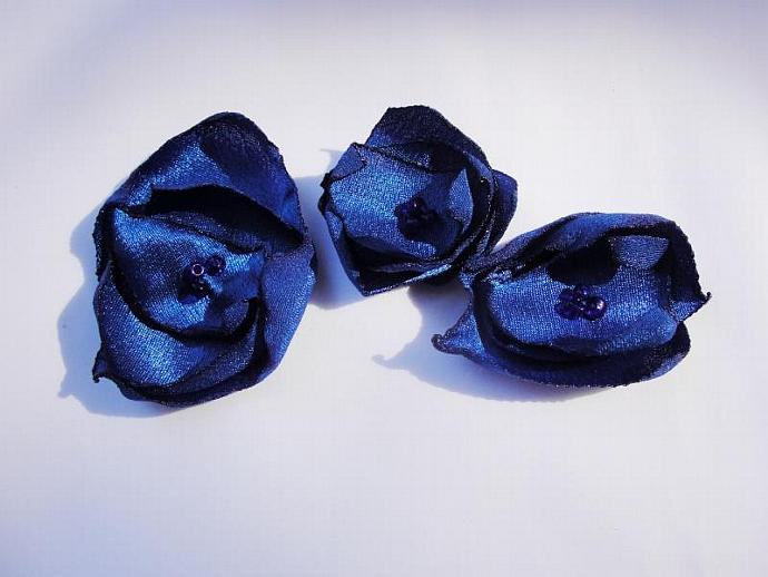 Set of Three Small Blue Satin Flower Embellishments