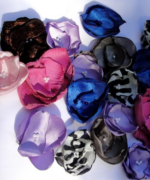 One Dozen Small Fabric Flower Embellishments