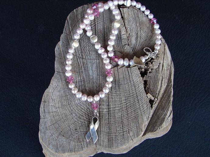 Breast Cancer Awareness Ribbon and Pearl Necklace