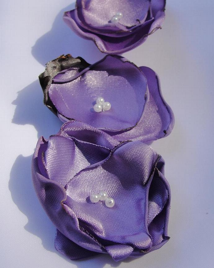Set of Three Small Lavender Flower Embellishments