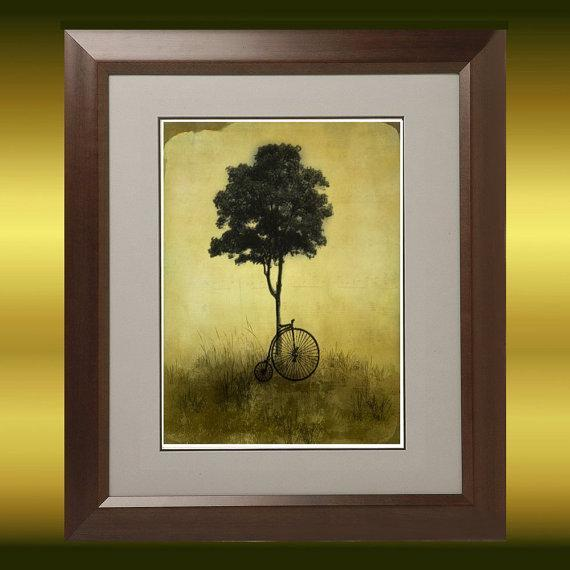 Vintage Style Landscape Tree and Bike Art Print - Resting