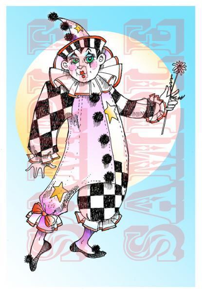 French Clown Digi Stamp