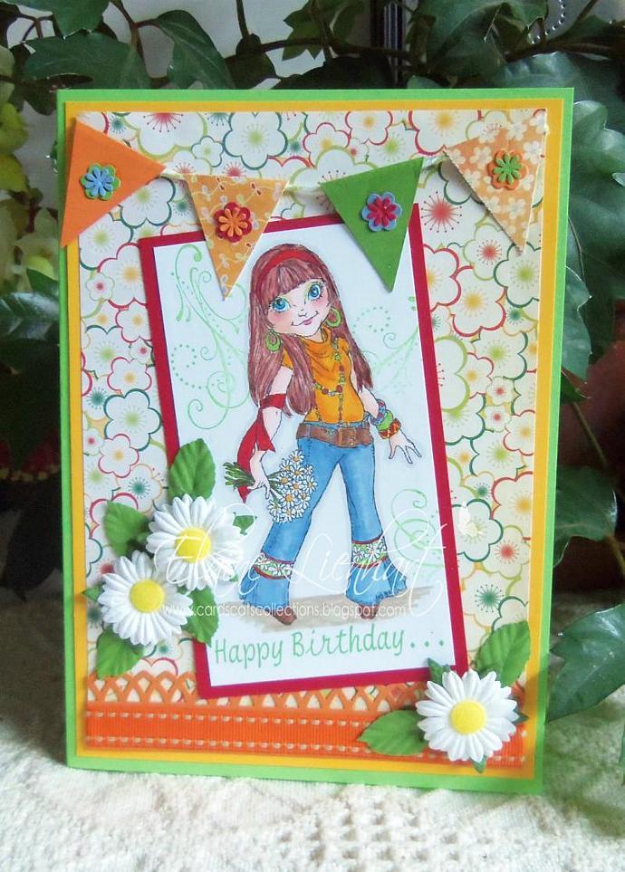 Joanie the Flower Child digi stamp