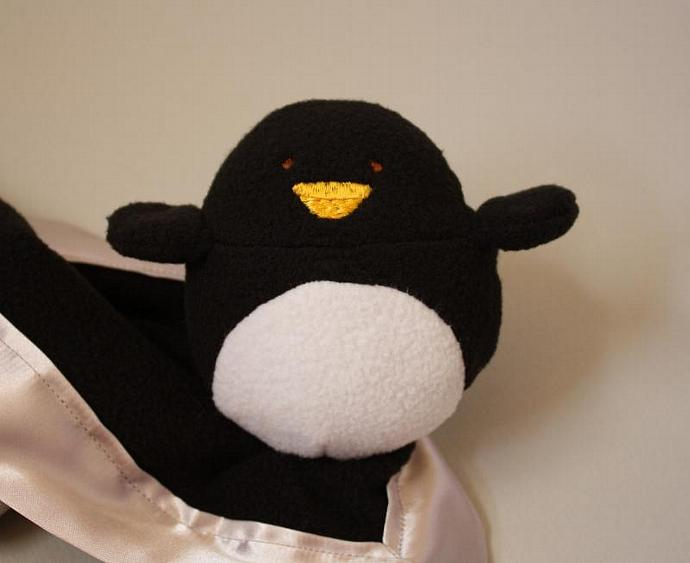Penguin Security blanket Lovey Blanket, Satin, Baby Blanket, Stuffed Animal,