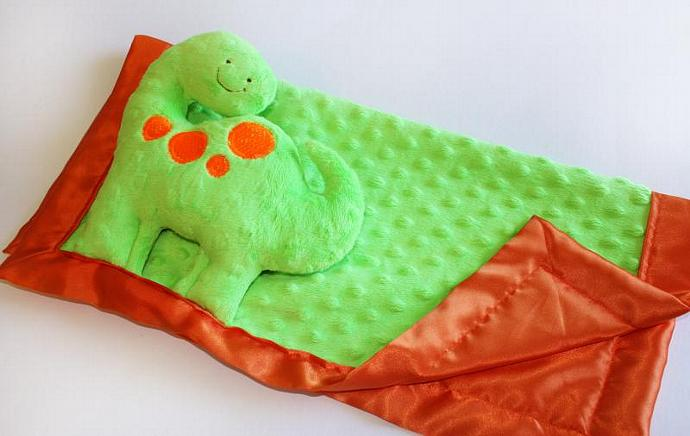 Green Dinosaur Security blanket, Lovey Blanket, Satin, Baby Blanket, Stuffed