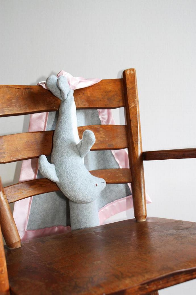 Dolphin Security Blanket, Lovey Blanket, Satin, Baby Blanket, Stuffed Animal,