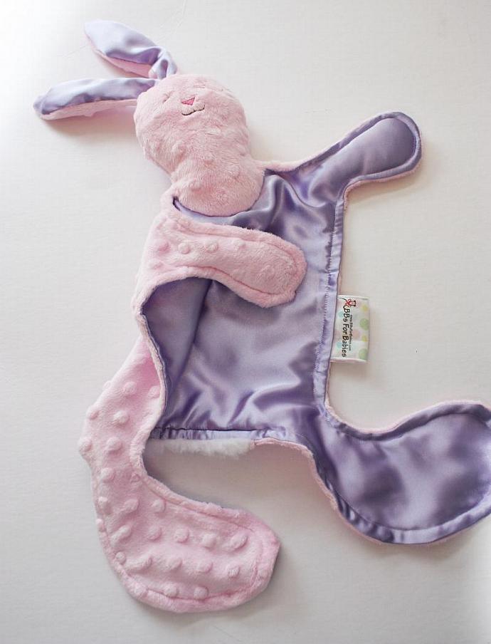Minky Bunny Rabbit Lovey Blanket, Satin, Baby Blanket, Stuffed Animal, Baby Toy