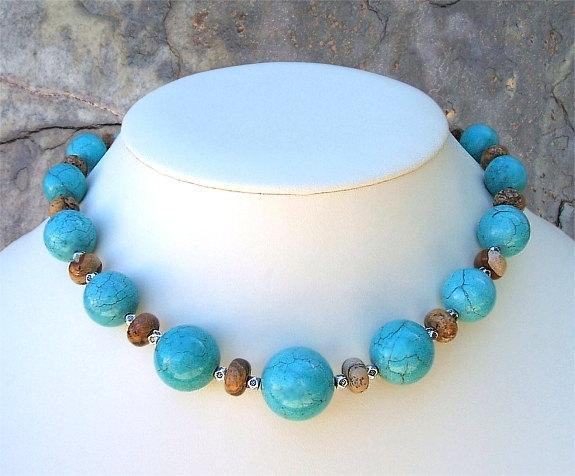 Chunky Turquoise And Picture Jasper Southwest Necklace, Statement Necklace