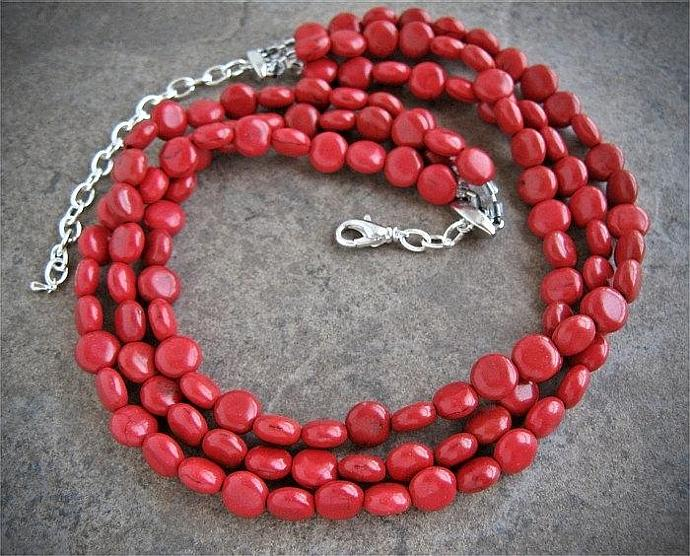 Cherry Red 3 Strand Statement Necklace, Red Jewelry, Southwest jewelry
