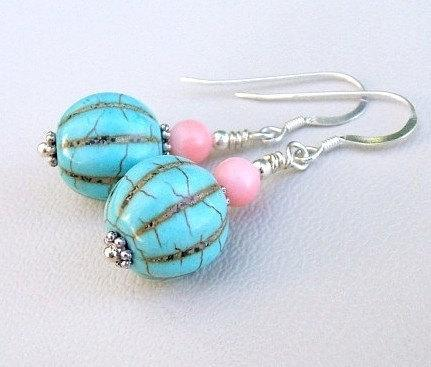 Turquoise w/ Coral Earrings Southwest Boho Style Sterling Silver French Hooks