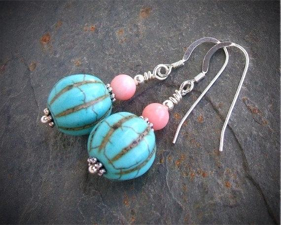 Turquoise And Coral Southwest Boho Style Earrings w/ Sterling Silver French Hook