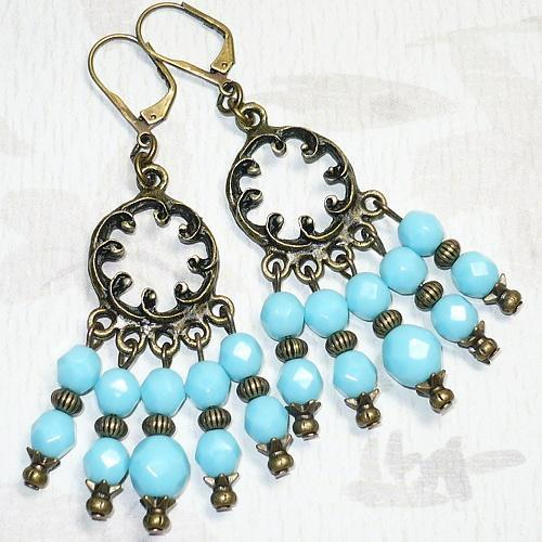 Antique Brass & Czech Turquoise Chandelier Earrings