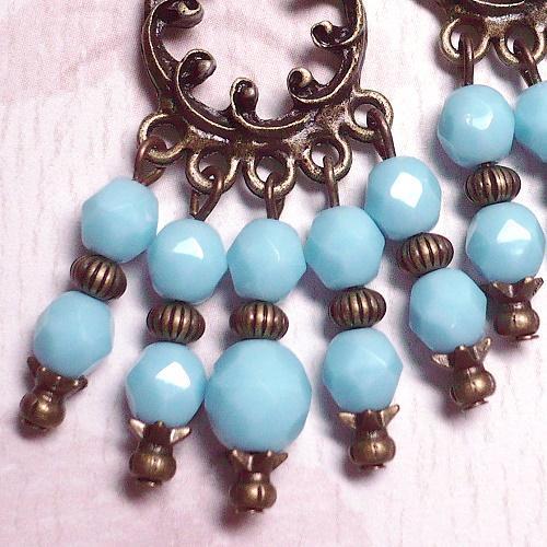 Antique Brass & Czech Turquoise Chandelier Earrings