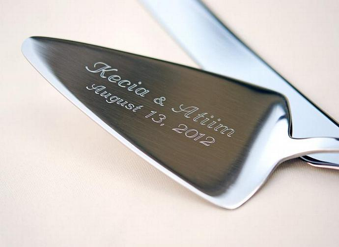 ENGRAVING For A Beaded Cake Server ONLY Engraved Stainless Steel PERSONALIZED