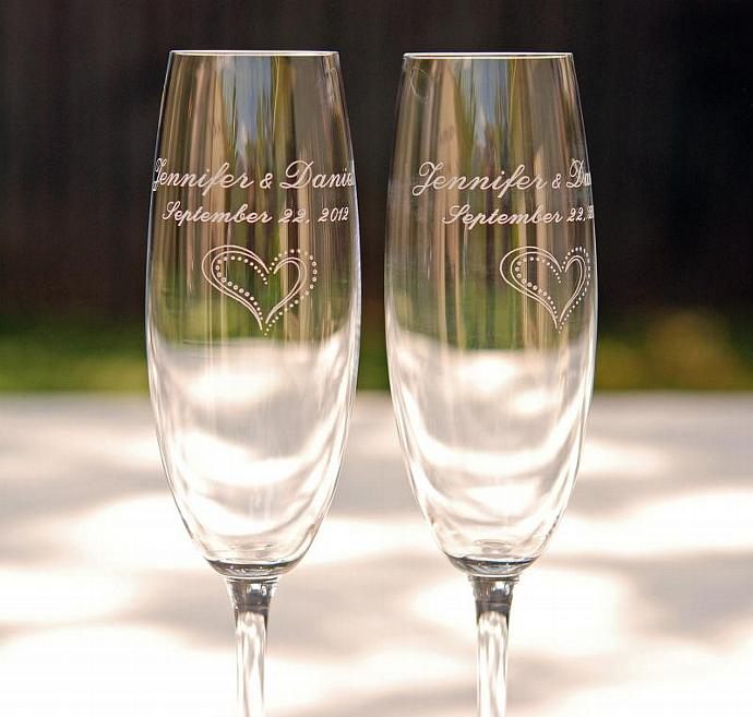 ENGRAVING For 2 Custom Beaded Or Decorated Toasting Flutes ONLY Engraved