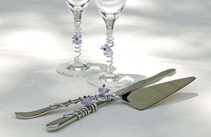 African Violet Wedding Cake Cutting Set, Matching bridal flutes,  SWAROVSKI