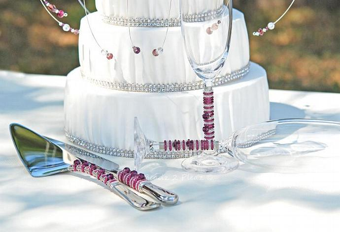 CUSTOM Cake Topper, Cake Server And Knife, Champagne Flutes, Matching Swarovski