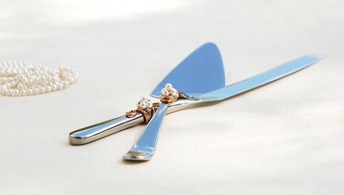 Vintage Style Cake Server And Knife Set, Pearl Wedding, Great Gatsby Cake