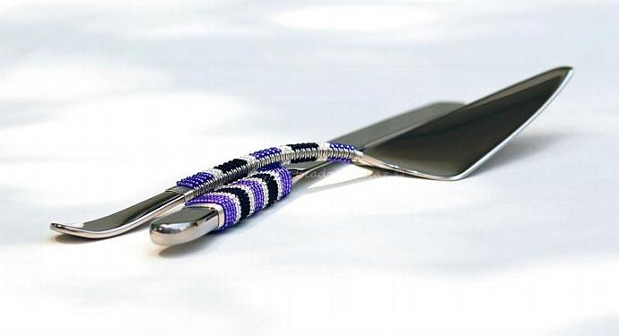 Purple Black White Wedding Cake Server Set, Hand Beaded Cutlery, CUSTOM Made