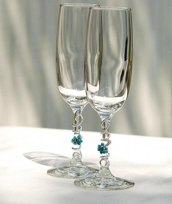 wedding toasting glasses custom champagne flutes summer wedding