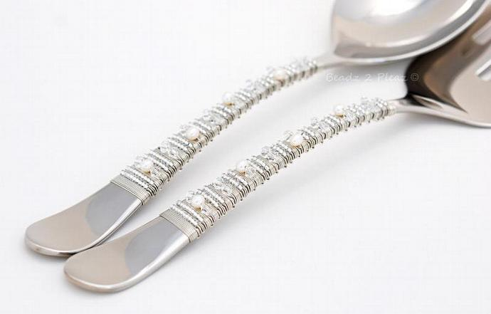 Stainless Steel Salad Server Set - Beaded Spoon And Fork Crystal, Pearl