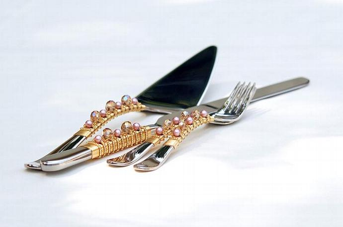 Cake Server And Knife Set In Gold And Pink - Elegant BLING For Your Wedding