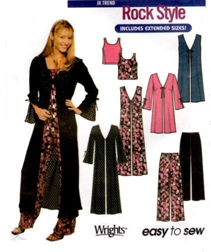Pants Tank Top Knit Coat Pattern Simplicity 7184 Girls Jr Trends Rocker Style