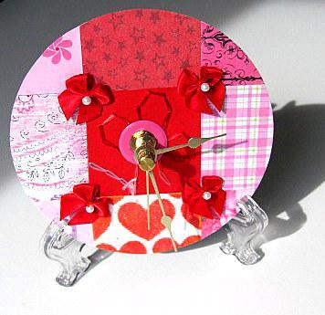 Red & Pink Patchwork Upcycled CD Clock ON SALE
