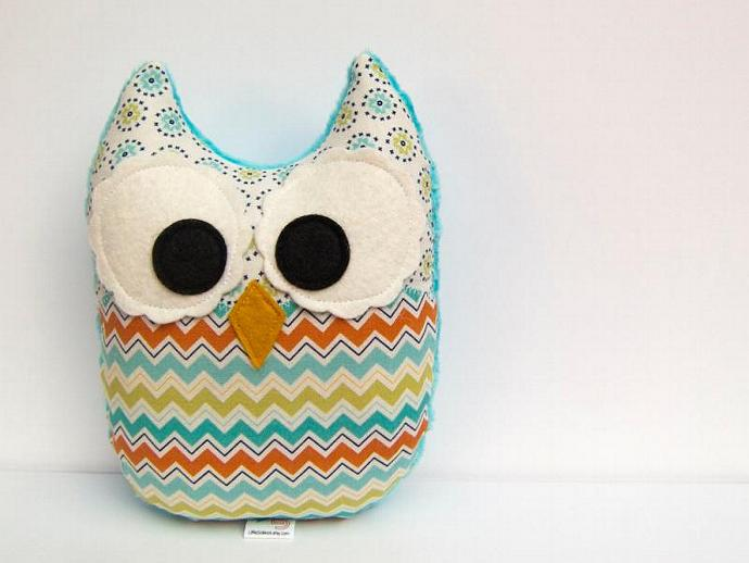 Chevron Owl Plush Toy Mini Pillow Softie Minky Green Teal Turquoise Orange