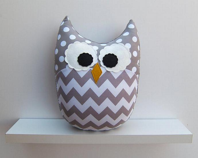Chevron Pillow Large Plush Owl Zig Zag Minky Gray White Nursery Decor