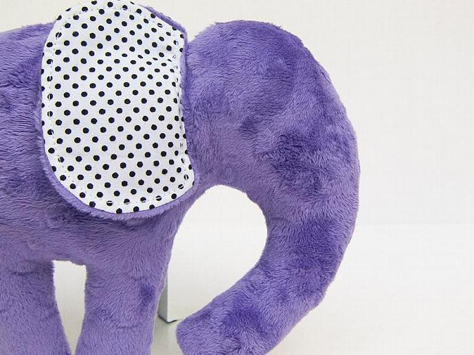 Plush Elephant Black White Modern Plush Choose Your Minky Color