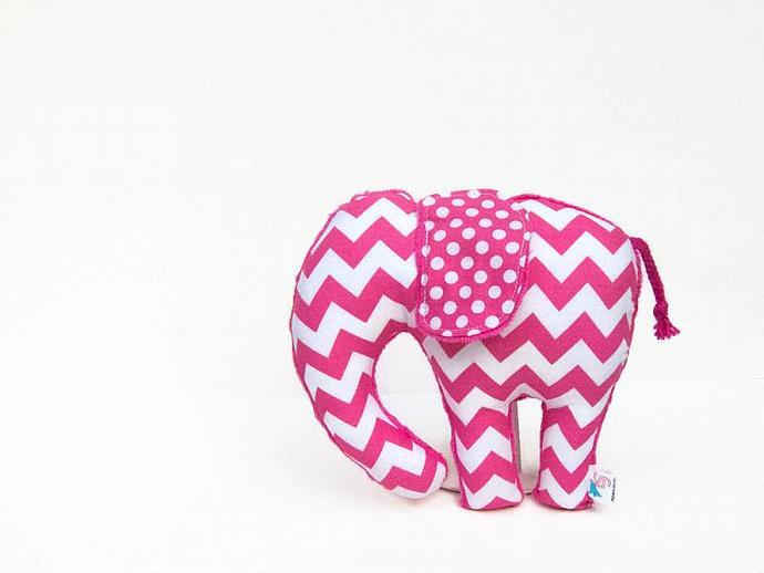 Chevron Polka Dot  Elephant Softie Hot Pink Fuchsia Plush Animal Minky