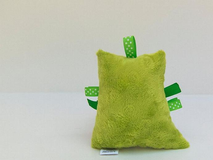 Plush Owl Green White Chevron Rattle Softie Baby Toy Minky Zig Zag Aqua White