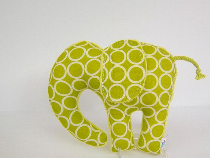 Plush Animal Elephant Minky Cotton Apple Green Nursery Decor