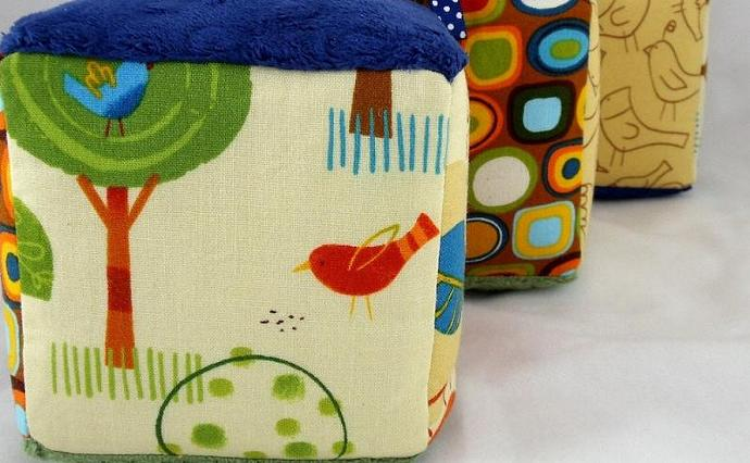 Soft Blocks Minky and Cotton Neutrals Blue Olive Beige Tan Birds Trees
