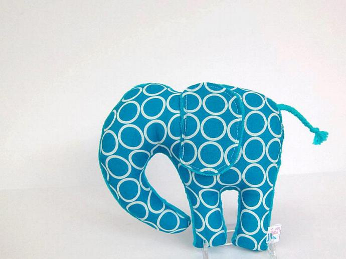 Elephant Plush Toy Nursery Decor Stuffed Animal Turquoise Blue