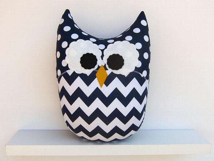 Chevron Owl Pillow Navy Blue Nursery Decor