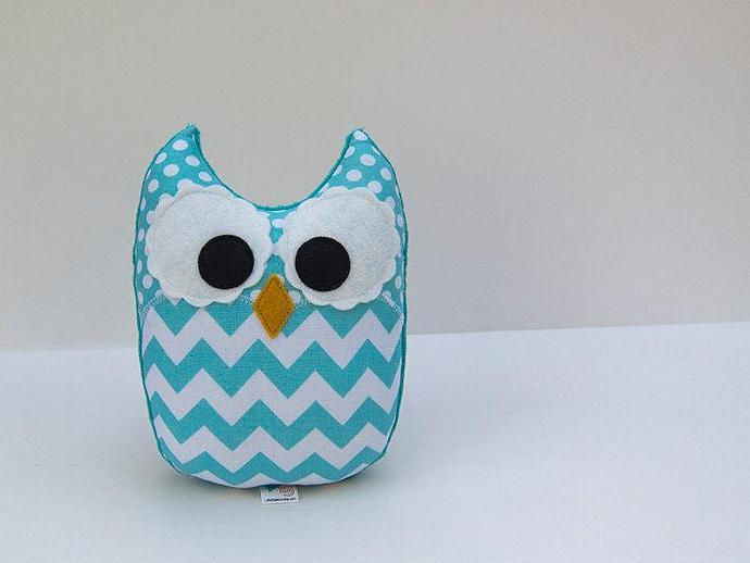 Chevron Owl Plush Baby Toy Minky Softie Mini Pillow Aqua Teal
