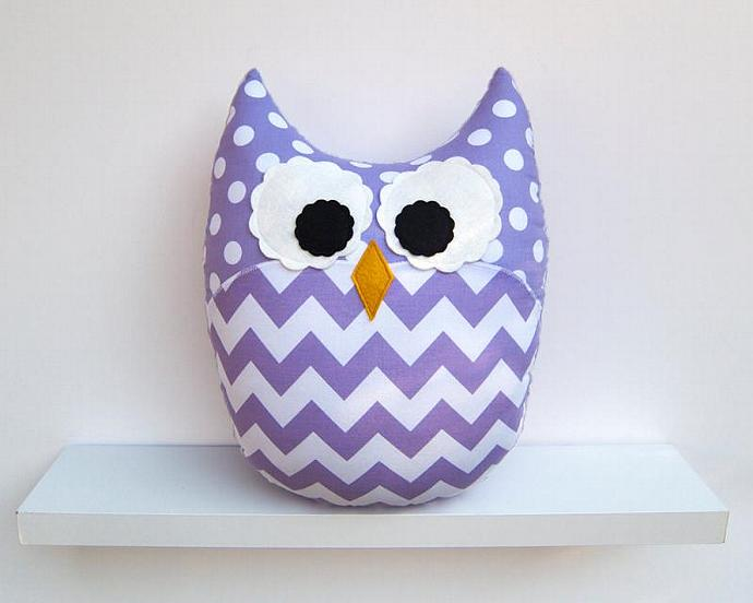 Purple Lavender Chevron Pillow Large Plush Owl Nursery Decor