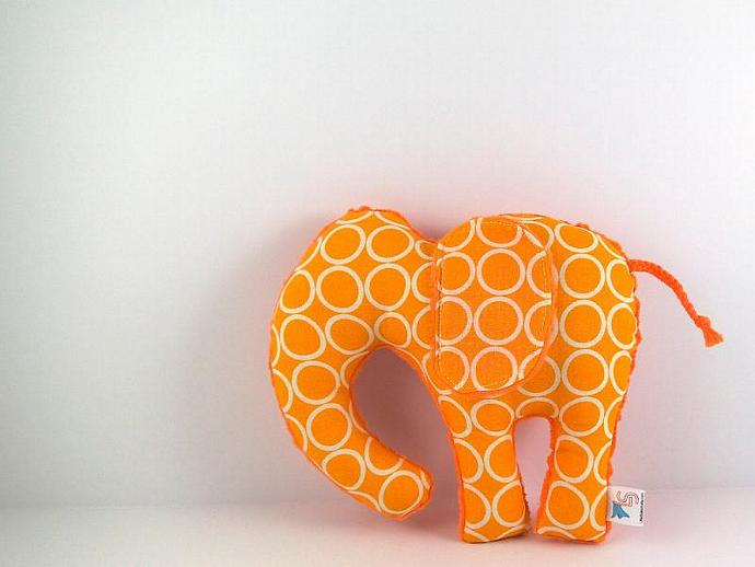 Elephant Plush Toy Handmade Stuffed Animal Tangerine Orange Minky