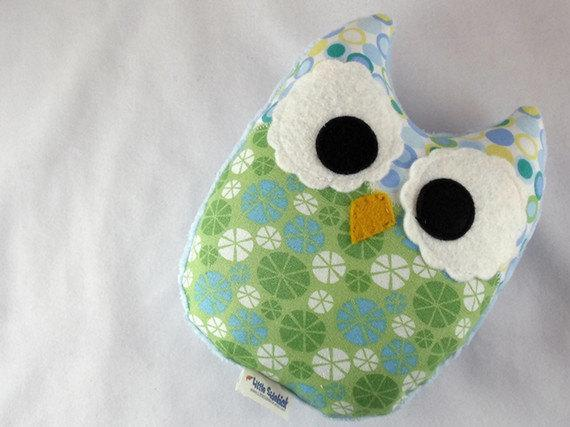Stuffed Owl Toy Plush Mini Pillow Softie Blue Green Minky