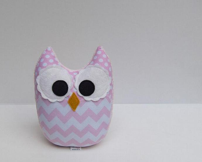 Soft Light Pink Chevron Owl Plush Baby Toy Mini Pillow Softie