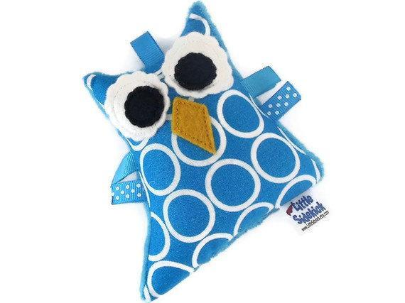 Plush Owl Rattle Softie Baby Toy - Turquoise