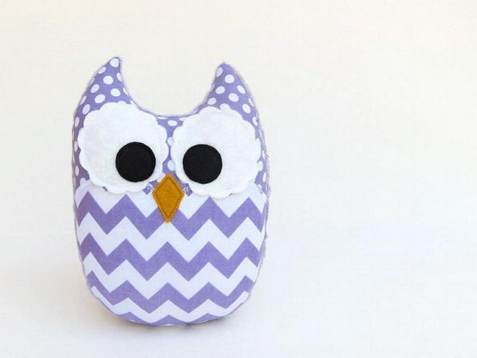 Lavender Purple Chevron Owl Plush Baby Toy Mini Pillow Softie