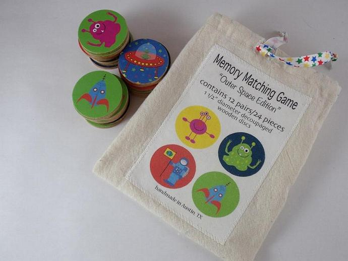 Wooden Memory Game Matching Game Wood Play Set Aliens Outer Space
